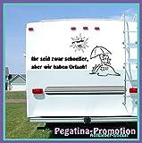 """Hochwertige Wohnwagen / Wohnmobil Aufkleber """" 'Ihr seid zwar schneller, aber wir haben Urlaub' mit Sonne und Strand 100x60 cm """" von Pegatina Promotion aus Hochleistungsfolie geplottet, auf Montagefolie ohne Hintergrund, Lustige Sprüche, Deko, Dekoration Ihres WOMO WOWA Aufkleber, Fun, Spass, Spassaufkleber, Truck, Urlaub, Van, Wohnmobile, Trucks, Sticker,"""