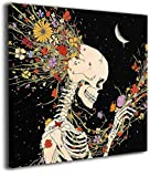 BOOPBEEP Canvas Wall Art Painting Colorful Hair White Skull Skeleton Pictures 3D Hd Prints Craft Wooden Framed Stretch Modern Black Square Wall Artwork Ready to Hang Bedroom Decor 12'x12'