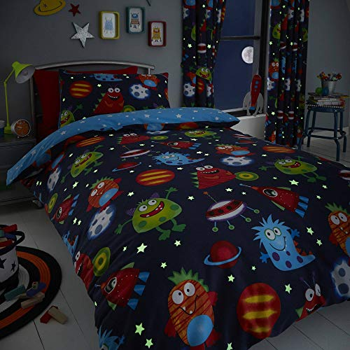 Happy Linen Company Kids Boys Girls Space Monsters Planets Glow In The Dark Blue Reversible Single Bedding Duvet Cover Set