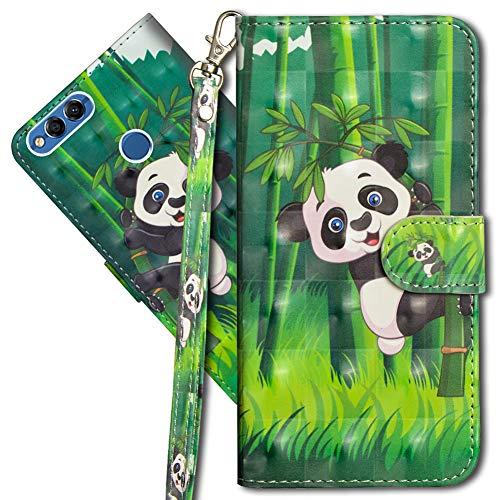 MRSTER Funda para Huawei Y6 Pro 2017, 3D Brillos Carcasa Libro Flip Case Antigolpes Cartera PU Cuero Funda con Soporte para Huawei P9 Lite Mini / Y6 Pro 2017. YX 3D Panda Bamboo