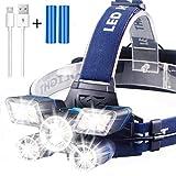 Soft Digits Stirnlampe【21LED】, 9 Modi 13000 Lumen Super hell USB Wiederaufladbare Kopflampe,...