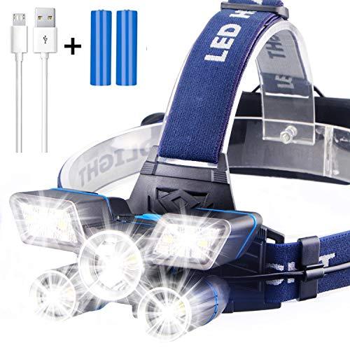 Preisvergleich Produktbild Soft Digits Stirnlampe LED,  5 Lampen 21 LED 9 Modi 13000 Lumen Super hell USB Wiederaufladbare Kopflampe,  Stirnlampe LED Wasserdicht für Camping Angeln Joggen Lesen Arbeiten