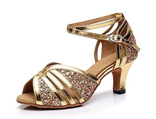 Honeystore Neuheiten Frauen's Pailletten Heels Absatzschuhe Moderne Latein-Schuhe mit Knöchelriemen Tanzschuhe LD204 Gold 42 CN