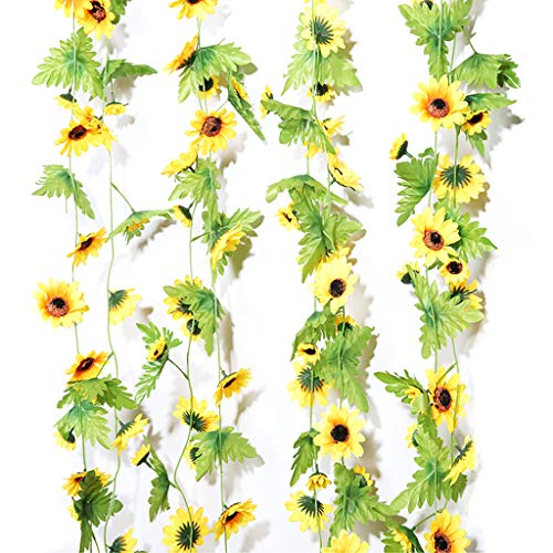 stoertuy 2.3m New Artificial Sunflower Leaves Flowers Ivy Vine Garland Party Garden Outdoor Wall Home Decor Yellow + Green
