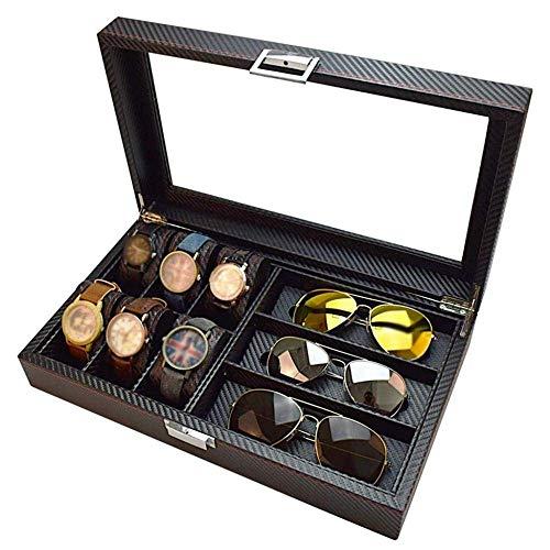 SYKONG Holz-6-Uhr-Kasten-Carbon-Faser 3 Gläser Storage Box Sonnenbrille Schal Display Box Schmuck-Box und Sonnenbrille-Glas-Vitrine Kombination Schwarz Männer/Frauen