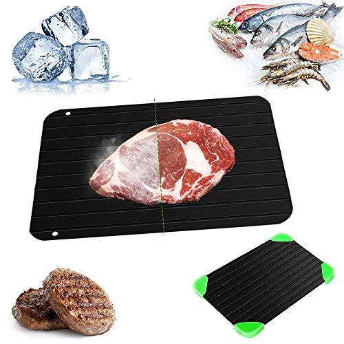 CHUER Auftauplatten Mit 4 Matten, (29.5X 20.8 x 0.2cm) Defrosting Tray Auftauen Tablett Ohne Elektrizität Chemikalien Mikrowelle Auftauplatte Aluminium von Fleisch Fisch und Andere Tiefkühlprodukte