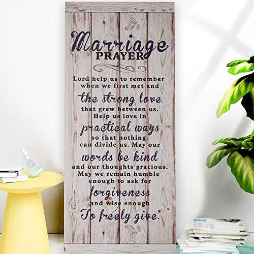 Aielly Placa de oración de Matrimonio, Letrero de Madera rústica, Lord Help Us to Remember When We First Met, decoración Cristiana, Regalos de Boda únicos