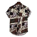 JJZSL Botones Camisas Hombres Ropa Para Hombre Algodón Ropa Étnico Manga Corta Casual Impresión Suelta T Hawaiano Camisa Blusa Blausa Ropa De Playa Hip Hop (Color : A, Size : XL code)