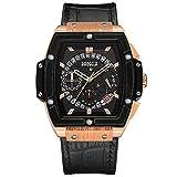 Orologio uomo rettangolare trendy cinturino in pelle nero e grande quadrante in oro rosa cronografo impermeabile