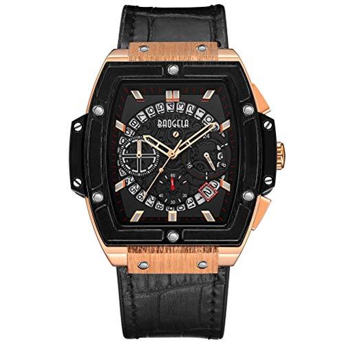 Herren Uhren Rose Gold Rechteckig Schwarz Leder Armband Analog Quarz mit Wasserdicht Chronographe Kalender (Rose Gold)