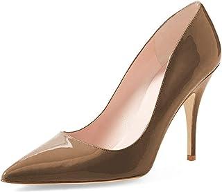 YDN Women's Chic Pointed Toe Mid Heel Pumps Polka Dots...