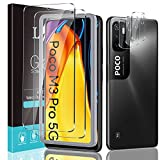 LϟK 2 + 3 Pezzi per Xiaomi Poco M3 PRO 5G 6.5 Pollici, 2 Pezzi Pellicola Vetro Temperato + 3 Pezzi Pellicola Fotocamera, 9H Durezza Senza Bolle HD Schermo Protettivo Facile Kit D'Installazione