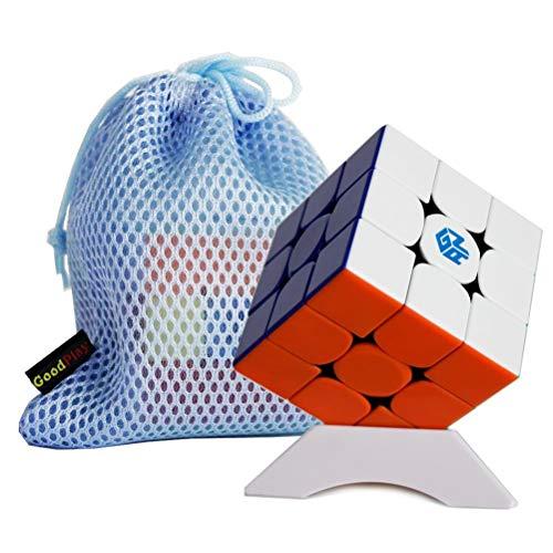 FunnyGoo Ganspuzzle Gan356R 3x3 Gan 356 R pagico pube Puzzle cubo velocità pube Multicolore Senza Adesivo + One Cube Bag e Uno Stand