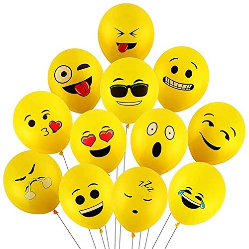Ubrand Latex Smiley Face Expression Pack Printed 12' Balloons, (100 Pack). Balloon Children's Birthday Party Cartoon Festive Decoration Balloons- Party Supplies