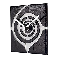 River City Clocks Square Black Glass Wall Clock with White Swirl Design