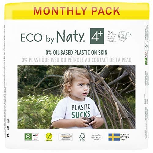Eco by Naty, Taglia 4+, 144 pannolini, 9-20kg, fornitura di UN MESE, Pannolino eco premium a base vegetale con lo 0% di plastica sulla pelle