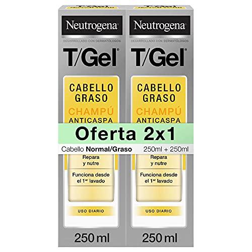 Neutrogena Champú T Gel Cuidado del Cabello Normal Graso, 2 x 250 ml