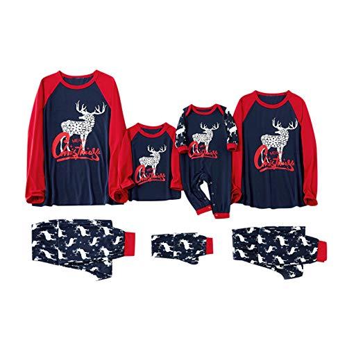 Family Pajamas Matching Set Christmas Pjs with Reindeer Letter Printed Sleepwear Navy