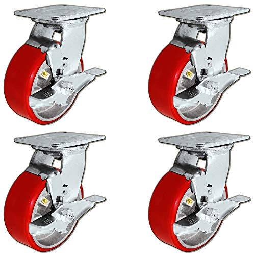 "5"" x 2"" Heavy Duty Swivel Caster Set of 4 - Red Polyurethane on Steel Core with Brakes - 4,400 lbs Per Set of 4 - Toolbox Casters - CasterHQ"