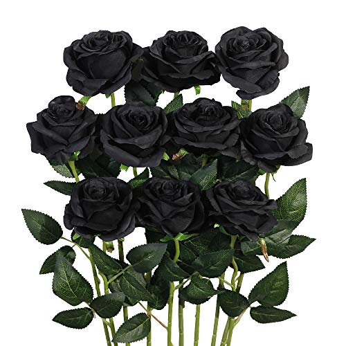 Luyue Artificial Silk Rose Flower Bouquet Wedding Party Home Decor, Pack of 10-Black