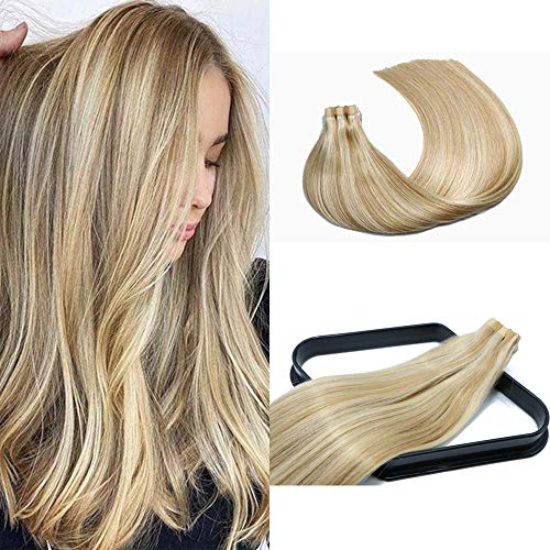 18 In Tape In Hair Extensions Light Golden Blonde Highlight 10A Grade Straight Hair Seamless Skin Weft Glue in Hairpieces Invisible Double Sided Tape 100% Remy Human Hair (18In #12P613)