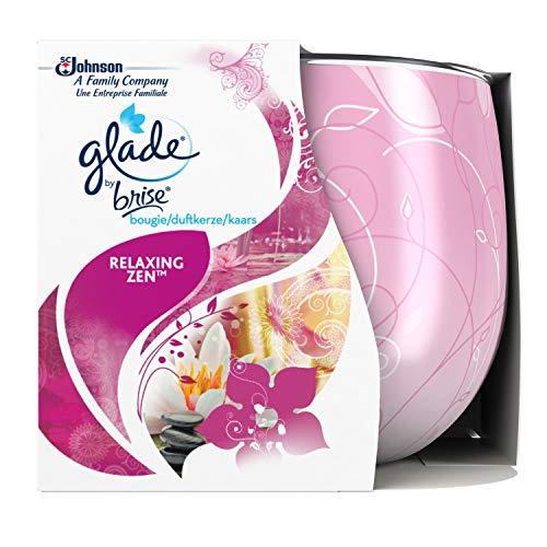 Glade By Brise Bougie Parfumée, Jusqu'à 30h de Combustion, Senteur Relaxing Zen, 120 g, Lot de 3
