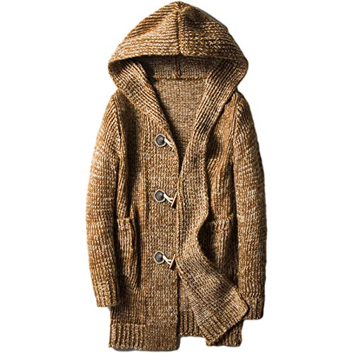 Cárdigan de suéter para Hombre, Otoño e Invierno, Color sólido, Cárdigan de botón de Cuerno de Longitud Media Simple, Abrigo Cortavientos Suelto y Grueso 4XL