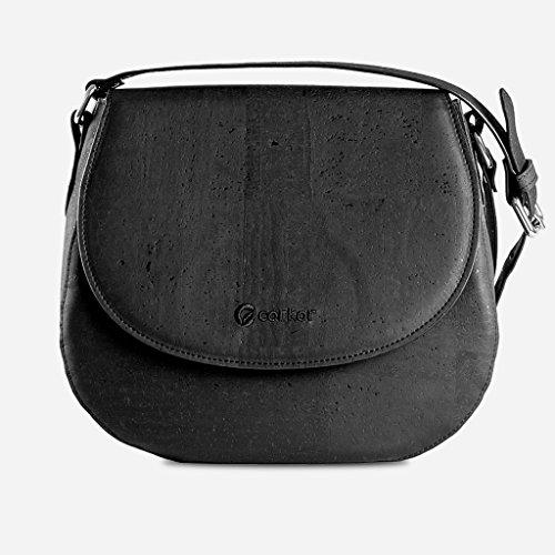 Corkor Veganer Schultertasche Böhmischen Umhängetasche Damen Geldbeutel Handtasche Natur-Leder Natur - Saddle Bag - Beuteltasche aus Veganem Leder Schwarz - 6