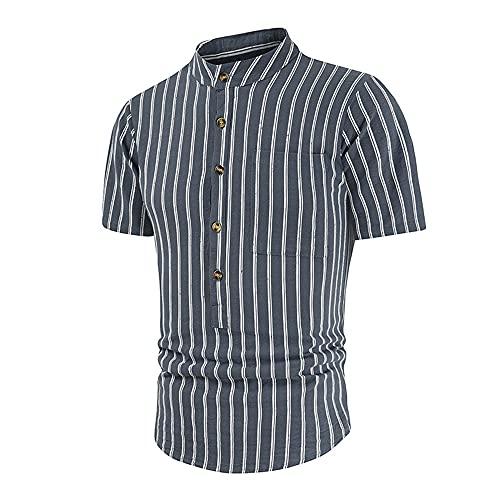 Tradicional Camisa Hombre Moderna Moda Botón Placket Bolsillo Rayas Estampado Hombre Shirt Verano Slim Fit Collar Pie Hombre Manga Corta Diario Casual All-Match Tops