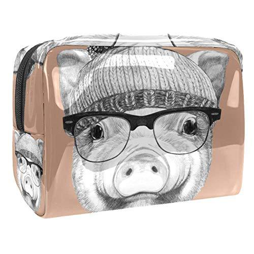 TIZORAX Cochon avec lunettes de soleil Chapeau d'hiver et nœud papillon Papillon Trousse de maquillage en PVC Trousse de toilette de voyage organiseur pratique pour femme