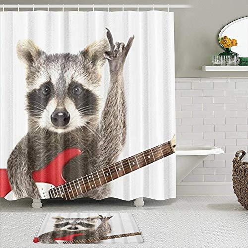 JOSENI 2-teiliges Duschvorhangset mit Rutschfester Badematte,Lustige Waschbär-E-Gitarre,12 Haken,Personalisierte Badezimmerdekoration