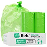 Reli. Biodegradable 13 Gallon Trash Bags | 100 Count, Green | ASTM D6954 | Eco-Friendly Garbage Bags 10 Gallon - 13 Gallon | Oxobiodegradable Under Certain Conditions (See Product Description)
