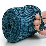 MeriWoolArt - Filo macramè, 6 mm, 100 m, robusto cotone riciclato e viscosa, lavorato a maglia, uncinetto, macramé, borsa, fioriera, acchiappasogni (oceano, 4 mm x 75 m)