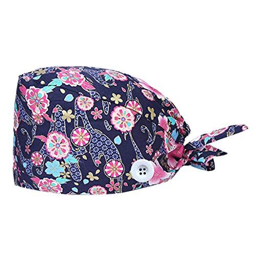 Fannyfuny - Botón estampado de algodón para uso médico, enfermera, sombrero, esteticista, sombrero antipolvo, botella de trabajo con botón impreso a la moda rosa Talla única