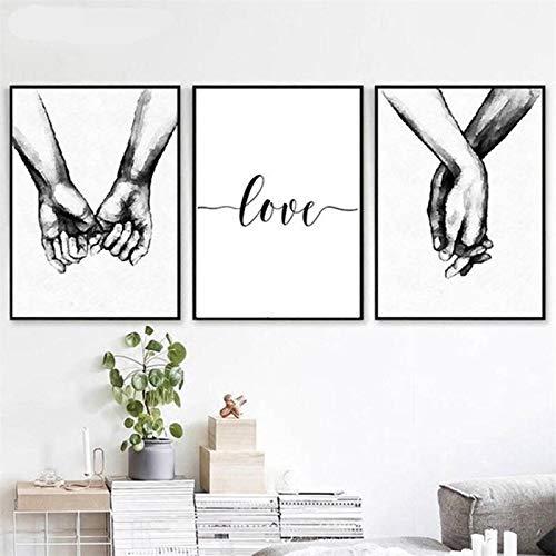 YQLKC Arte Moderno Blanco y Negro Tomados de la Mano Cartas de Amor Pintura en Lienzo Arte de la Pared para la Sala de Estar Decoración del hogar 19.6'x27.5 (50x70cm) x3 Sin Marco