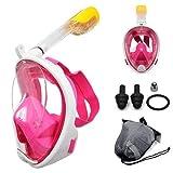 U/D 2020 Máscara de buceo de cara completa para buceo, máscaras de buceo bajo el agua, antivaho, antifugas, seguro e impermeable, natación para adultos y niños (N42-Flat Pink,S/M)