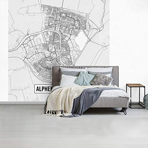 Fotobehang vinyl Top 50 Nederland vierkante uitsneden - Stadskaart Alphen aan de Rijn - Plattegrond breedte 450 cm x hoogte 450 cm - Foto print op behang (in 7 formaten beschikbaar)