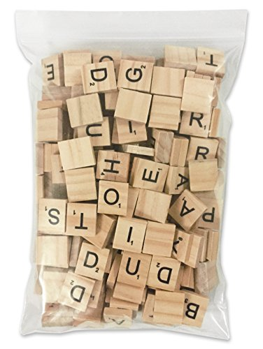 200 Pcs Scrabble Letters - 2 Complete Sets 200 Pcs in 1 Pack - Wood Tiles - Great for Crafts, Letter Tiles, Spelling by Clever Delights