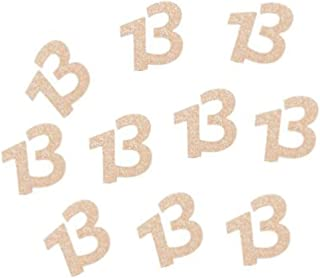 """Glitter Rose Gold 13th Birthday Party Number 13"""" Paper Cut Outs/Paper Confetti/Table Scatter"""