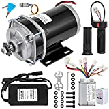 BestEquip Brushed Motor 1000W 48V Gear Reduction Electric Permanent Magnet Motor 600RPM Rated Load Speed 20.8A Gear Ratio 6:1 with Speed Controller,Charger,Throttle Grip for Go Karts Scooters