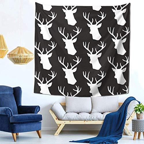 Lsjuee Testa di Cervo in Bianco e Nero Arazzo da appendere a parete Decorazioni per la casa Fan Art per Camera da letto Soggiorno Dormitorio