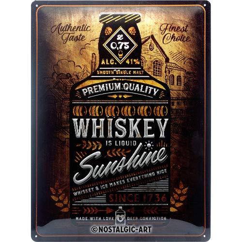 Nostalgic-Art Retro Blechschild - Open Bar - Whiskey Sunshine, Vintage Geschenk-Idee für Whiskey-Fans, zur Dekoration als Bar Zubehör, 30 x 40 cm
