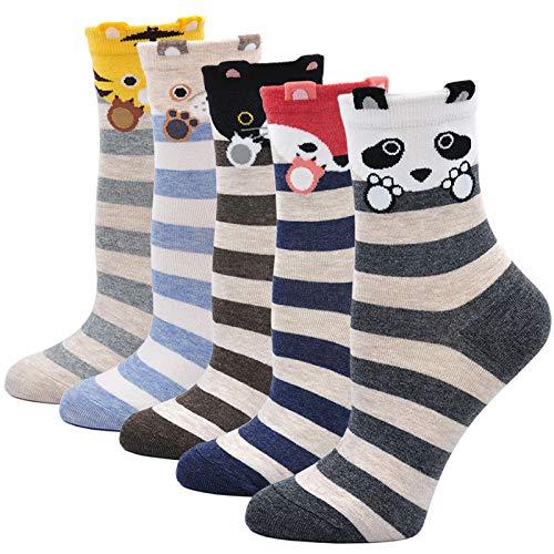 CaiDieNu Damen Baumwolle Niedlich Karikatur Tiere Charakter Socken Lustige Verrückte Motiv Witzig Socken Damen,2/5/10 Parre (Eur 35-42, 7:Tiermischung)