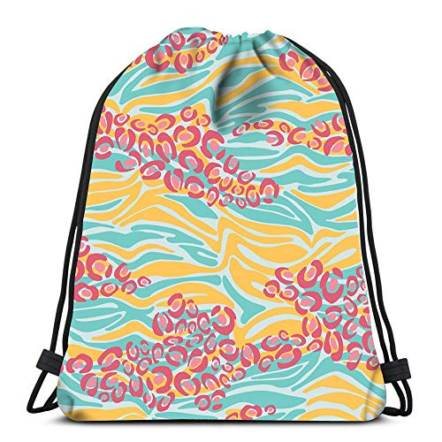 Axtuxdell Drawstring Backpack Bags Colorful Zebra and Leopard Animal Skin Laundry Bag Gym
