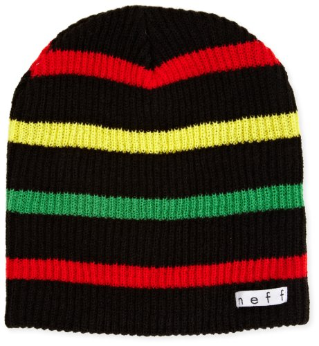Neff Unisex's Men's Daily Stripe Beanie-Black/Rasta, One Size
