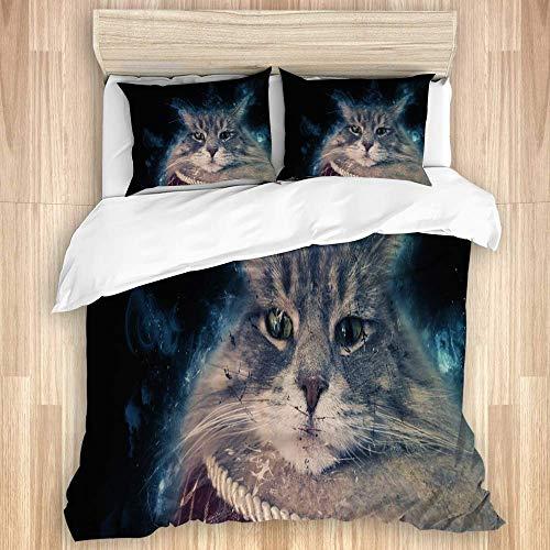 SUPERQIAO Juego de Funda nórdica de 3 Piezas, Retrato artístico de Gato, Juego de Fundas de edredón de Microfibra de Lujo para Dormitorio, Colcha con Cremallera con 2 Fundas de Almohada
