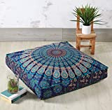 """Madhu International Mandala Floor Pillow - Made Of 100% Cotton - Decorative Tapestry Cushion Cover - Outdoor Tapestry Floor Pillow Covers - Pouf Covers For Living Room, Bedroom - 35"""" x 35"""", Blue Green"""