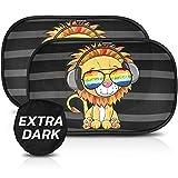Parasol coche con protección UV extra oscura - autoadhesivo, para proteger del sol a bebés y mascotas, 2 parasoles para bebé con diseño de león