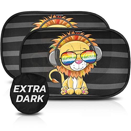 CARAMAZ Sonnenschutz Auto Baby mit Zertifiziertem UV Schutz - extra dunkel 51x31cm - 2 Stück selbsthaftende Sonnenblende Auto Kinder - Sonnenblende Auto Baby -Auto Fenster Sonnenschutz Löwe