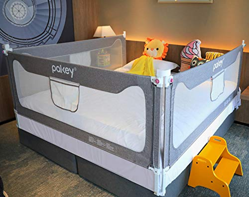 Goldenvalueable Bed Rail Guard 3 Set Vertical Collapsible for Baby Toddlers and Kids (Queen Size Bed) (Gray, Queen)
